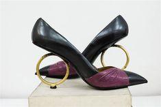 Albanese vintage shoes - black and burgundy, with gold hoop heels
