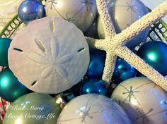 Coastal Christmas - blue, white and green balls with starfish and sand dollars Coastal Christmas Decor, Nautical Christmas, Tropical Christmas, Beach Christmas, Blue Christmas, Christmas Holidays, Christmas Bulbs, Christmas Crafts, Christmas Decorations