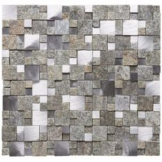 Malla Decorativa Matrix Grey con mezcla de piedra y acero inoxidable con tonalidades grises en cuadros de diferentes tamaños y profundidades. Medida (cm) 31.8 x 30 Grosor (cm) 0.9