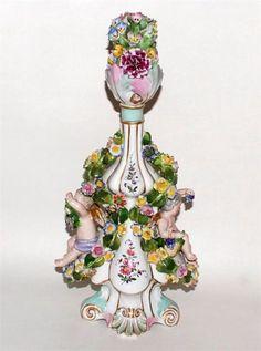 Large Floral Encrusted Scent Perfume Bottle Putti Dresden | eBay