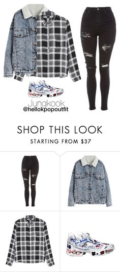 """""""Androgynous outfit - Jungkook"""" by hellokpopoutfit ❤ liked on Polyvore featuring Topshop, Monki and Vetements"""