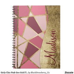 Girly Chic Pink Geo Gold Triangles Monogram Notebooks