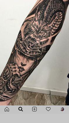Left Arm Tattoos, Cool Chest Tattoos, Dope Tattoos, Badass Tattoos, Forearm Tattoo Men, Black Tattoos, Tattoos For Guys, Japanese Warrior Tattoo, Japanese Sleeve Tattoos