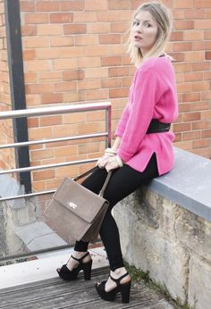 Pink sweater  #outfit , New Look in Heels / Wedges, MySuelly in Bags, Zara in Sweaters, Comptoir Des Cotonniers in Belts