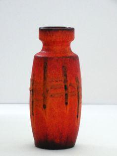 Scheurich Mid Century Orange Matte Glazed West German Vase by PasterCorte on Etsy