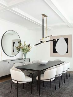 Simple Dining Table, Modern Dining Chairs, Fine Dining, Modern Dinning Room Ideas, Chairs For Dining Table, Black Dining Room Table, Dining Rooms, Room Interior, Home Interior Design