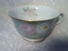 VTG Noritake Japan Hand Paint Pink Green Shab Chic Pastel Rose Gold Rim Tea Cup
