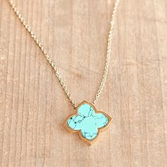 Fine Floret Pendant Necklace Turquoise | Kelly's Treasure
