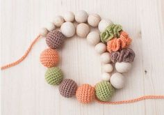 Nursing necklace / Teething necklace / Crochet by SvetlanaN, Nursing Necklace, Teething Necklace, Crochet Toys, Knit Crochet, Breastfeeding Necklace, Crochet Beaded Necklace, Fabric Jewelry, Crochet Accessories, Wooden Beads