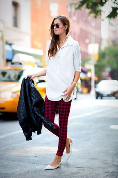 Plaid pants, white button down, leather jacket + flats