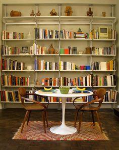 Open bookshelves for War Room