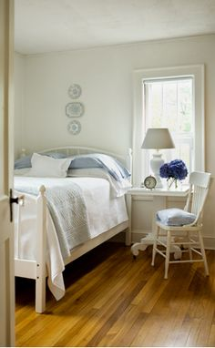 browns and blues... perfect for quiet bedrooms. I love wooden floors. Reminds me of the room at grandma's