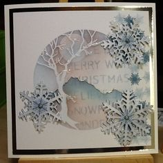 """Uses Clarity Stamp """"Winter Tree Aperture"""" stencil. {Note: Image only. No source URL. Tree Stencil, Stencils, Clarity Card, Lavinia Stamps, Snowflake Cards, Paper Crafts, Card Crafts, Christmas Cards, Christmas Trees"""