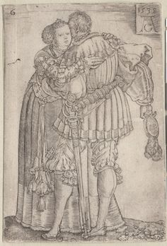 1538 Aldegrever, Heinrich, 1502-ca.1561 (engraver)  Officer embracing lady. One of a collection of illustrations of Austrian soldiers. Soldier and woman embracing. Copyright - Anne S.K. Brown Military Collection at Brown University.