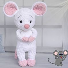 Free Cute Amigurumi Patterns- 25 Amazing Crochet Ideas For Beginners To Make Easy New 2019 - Page 23 of 25 - eeasyknitting. Crochet Rabbit, Crochet Mouse, Crochet Teddy, Easter Crochet, Cute Crochet, Crochet Dolls, Crochet Animal Patterns, Stuffed Animal Patterns, Crochet Animals