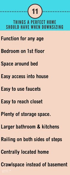 11 things a perfect home should have when downsizing - purchasing your next home.