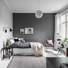 Grey Bedroom Ideas - Minimalist Grey Bedroom Design with Dark Grey Wall - Best G. Grey Bedroom Ideas - Minimalist Grey Bedroom Design with Dark Grey Wall - Best Grey Bedroom Decor: Beautiful Light and Dark Grey Bedroom Ideas and Designs Dark Gray Bedroom, Grey Bedroom Design, Gray Bedroom Walls, Grey Bedroom Decor, Dream Bedroom, Home Bedroom, Bedroom Designs, Trendy Bedroom, Bedroom Modern