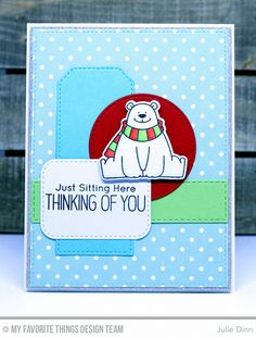 Handmade card from Julie Dinn featuring Birdie Brown Polar Bear Pals stamp set and DIe-namics, Stitched Circle STAX, Stitched Traditional Tag STAX, Inside & Out Stitched Rounded Rectangle, Horizontal Stitched Strips, Blueprints 2, and Blueprints 13  Die-namics #mftstamps
