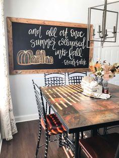 Fall Chalkboard Art, Thanksgiving Chalkboard, Chalkboard Lettering, Chalkboard Designs, Chalkboard Ideas, Kitchen Chalkboard Quotes, Kitchen Blackboard, Framed Chalkboard, Fall Home Decor
