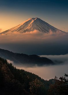 Sunrise and morning fog   Mount Fuji   Japan