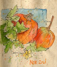 Possible tuck-ins: a simple sketch or drawing Suzy 'Pal' Powell Watercolors and Collages: 75 Day Sketch Challenge-Day 21 Watercolor Fruit, Pen And Watercolor, Abstract Watercolor, Watercolor Flowers, Simple Watercolor, Tattoo Watercolor, Watercolor Animals, Watercolor Background, Watercolor Landscape