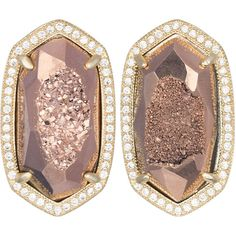 Kendra Scott Elsie Druzy Stud Earrings ($190) ❤ liked on Polyvore featuring jewelry, earrings, rose, pave stud earrings, 14k earrings, kendra scott earrings, 14 karat gold earrings and rose earrings