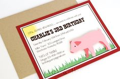 Pig Birthday Party Invitations for Boys by peasandthankyous, $24.00