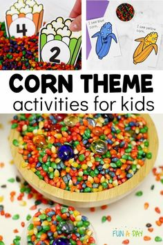 The corn activities would be great at any time of year, but they'd fit in especially well with all of your fall activities for preschoolers. Dyed corn kernels especially make for gorgeous fall crafts, fall DIY projects, art activities, and lots of rich learning opportunities! Preschool Activity Books, Early Learning Activities, Autumn Activities For Kids, Preschool Lesson Plans, Preschool Themes, Crafts For Kids, Art Activities, Fall Crafts, Letter C Crafts