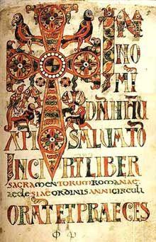 Sacramentaire gélasien, probablement de Chelles: vers 700. C'est la première apparition des lettrines, souvent composées d'animaux: ainsi la lettre N est formée de poissons. Rome, bibliothèque Vaticane.- ENLUMINURE MEROVINGIENNE. 3) CENTRES DE PRODUCTION DES MANUSCRITS CELEBRES, 10: *CHELLES (en Seine et Marne) était le siège d'un palais mérovingien. En 584, Chilpéric 1° y fut assassiné sur ordre du maire du palais Landry, amant de Frédégonde, la propre épouse du roi. Une 1° abbaye de…