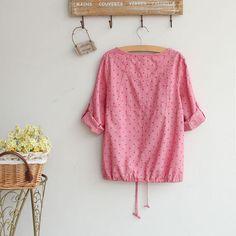 Tab-Sleeve Shirt, Red , One Size - Fairyland | YESSTYLE