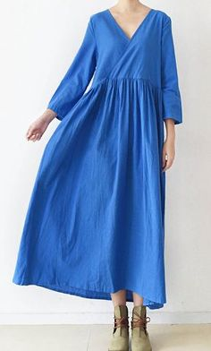 2017 blue v neck linen dresses plus size casual sundress long sleeve maxi dress