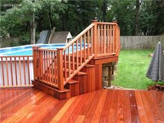 Deck addition idea for later on, for our above ground pool. Deck addition id Swimming Pool Decks, Above Ground Swimming Pools, My Pool, In Ground Pools, Lap Pools, Indoor Pools, Small Above Ground Pool, Above Ground Pool Steps, Pool Deck Plans
