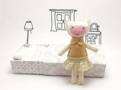 Stuffed felt plush white cat girl in a by atelierpompadour on Etsy  #children #bedroom #dolls #doll #catwoman #catgirl #miniature #miniaturedoll