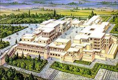 MINOISCHE CULTUUR // Palace of Knossos (recreation) Eerste niet-versterkte paleis op Kreta 2000-1500 v.C. ca 1750 v.C. Aardbeving vernietigt het eerste paleis van Knossos Minoishe nederzettingen zijn buiten Kreta gevonden op Santorini (Thera ) In 1628 v.C. wordt Santorini verwoest door een vulkaanuitbarsting