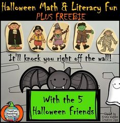 #HalloweenMath and Literacy with the 5 Halloween Friends! Plus BlogHop, #Prizes & FREEBIES!