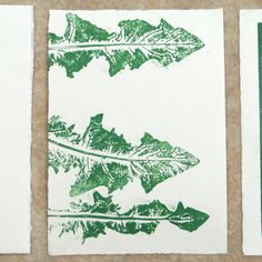 Mono printing with dandelion leaves www.handprinted.net/