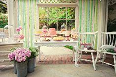 Floral dessert table.