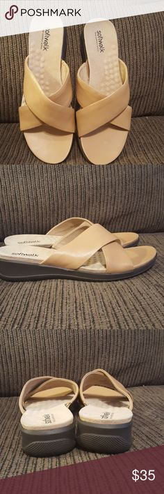 Softwalk slides These are new without tags never been worn beautiful all leather soft slides perfect condition SoftWalk Shoes Sandals