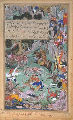 Basawan (artist), Tara (the Elder), 'Akbar slays a tigress which attacked the royal entourage', India or Pakistan, 1590-1595. Museum no. IS.2-1896 (17/117). Victoria & Albert Museum, London