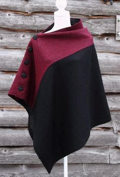 Harriet Hoot Bespoke Harris Tweed Black and Oxblood Cape Poncho Pattern Sewing, Mode Kimono, Cape Designs, Capes & Ponchos, Harris Tweed, Sewing Clothes, Dressmaking, Dress Patterns, African Fashion