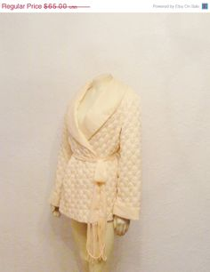 STOREWIDE SALE Vintage Smoking Jacket Robe 50s 60s Mad Men Say Lu by Marty Marks Belted Quilted Robe Size M Modern M L Xl