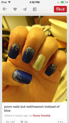 trendy ideas for nails prom gold red Blue And Silver Nails, Navy Blue Nails, Maroon Nails, Burgundy Nails, Gold Nails, Matte Nails, Fun Nails, Acrylic Nails, Navy Gold
