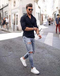 s casual wear, distressed jeans jean shirt outfits, je Ripped Jeans Outfit Casual, Blue Shirt Outfit Men, Blue Jeans Outfit Men, Jean Shirt Outfits, Distressed Jeans Outfit, Blue Jean Outfits, Mens Blue Shirt, Ripped Jeans Men, Men Shirt