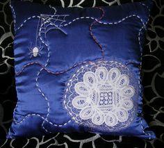 pillow, vintage linen lace