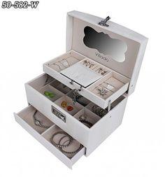 Všetko pre modernú domácnosť | homedesignsk.sk - Luxusná kožená šperkovnica GLAMOUR biela