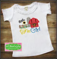 Farm Girl, Little Farm Girl, Western, Country, Farm, Country Girl, Horses, Barn, Farm Animals, Summer, Girl's Shirt, Embroidery, Applique by AStitchofJoy on Etsy