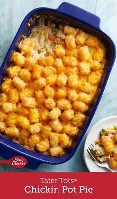 This mashup of two favorite comfort foods is a guaranteed weeknight winner. We replaced the trusty-but-basic pie crust topper with crispy, golden-brown Tater Tots™ frozen potatoes to make a pot pie casserole that's homey, hearty and sure to please the whole family.