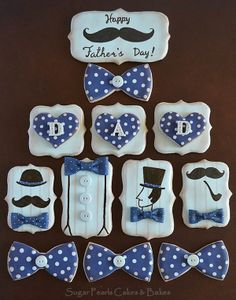 Mustache, Dad Cookies~    Vintage Gentleman cookies/Father's Day cookies, By Sugar Pearls, Blue, Polka Dots, Bow Tie, Alpha, Derby Hat