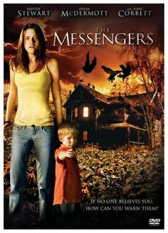 The Messengers is a 2007 psychological thriller starring a then relatively-unknown Kristen Stewart. Being dragged into a basement is never anyone's idea of a good time! But the ghosts always insist on warning people in such a dramatic way.