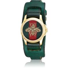 Gucci Women's Le Marché Des Merveilles Leather Watch (49.595 RUB) ❤ liked on Polyvore featuring jewelry, watches, green, gucci jewellery, snap jewelry, leather wrist watch, green watches and bee jewelry
